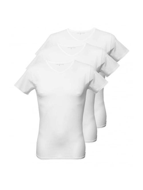 Pánske tričko Tommy Hilfiger V-Neck Tee SS biele 3-pack