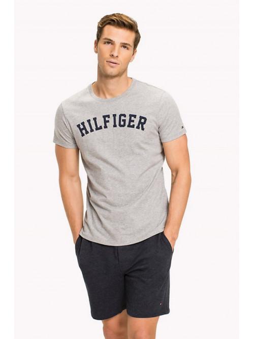 Pánske tričko Tommy Hilfiger SS TEE  PRINT LOGO sivé