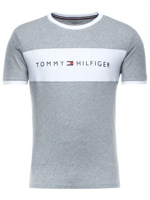 Pánske tričko Tommy Hilfiger Tee Logo Flag sivé