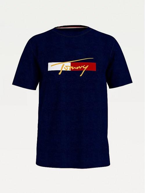 Pánske tričko Tommy Hilfiger Organic Cotton Logo Modré