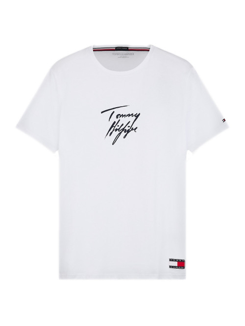 Pánske tričko Tommy Hilfiger Signature Logo biele