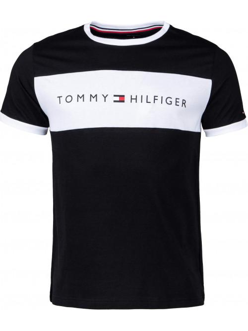 Pánske tričko Tommy Hilfiger Tee Logo Flag čierne