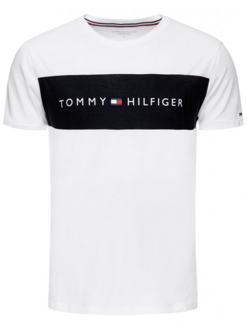 Pánske tričko Tommy Hilfiger Tee Logo Flag biele