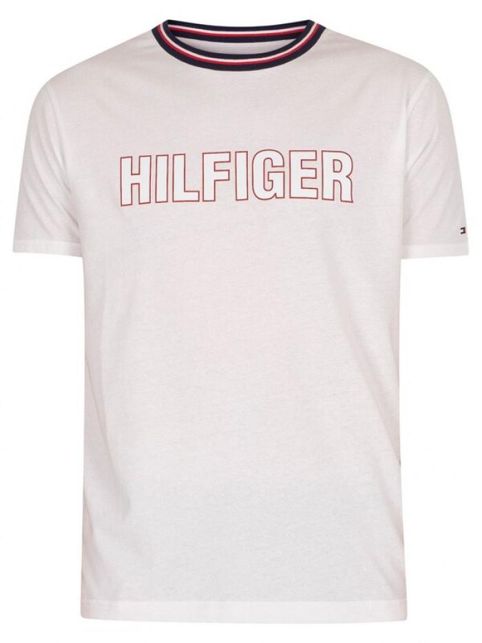 Pánske tričko Tommy Hilfiger CN SS Tee Graphic Lounge biele