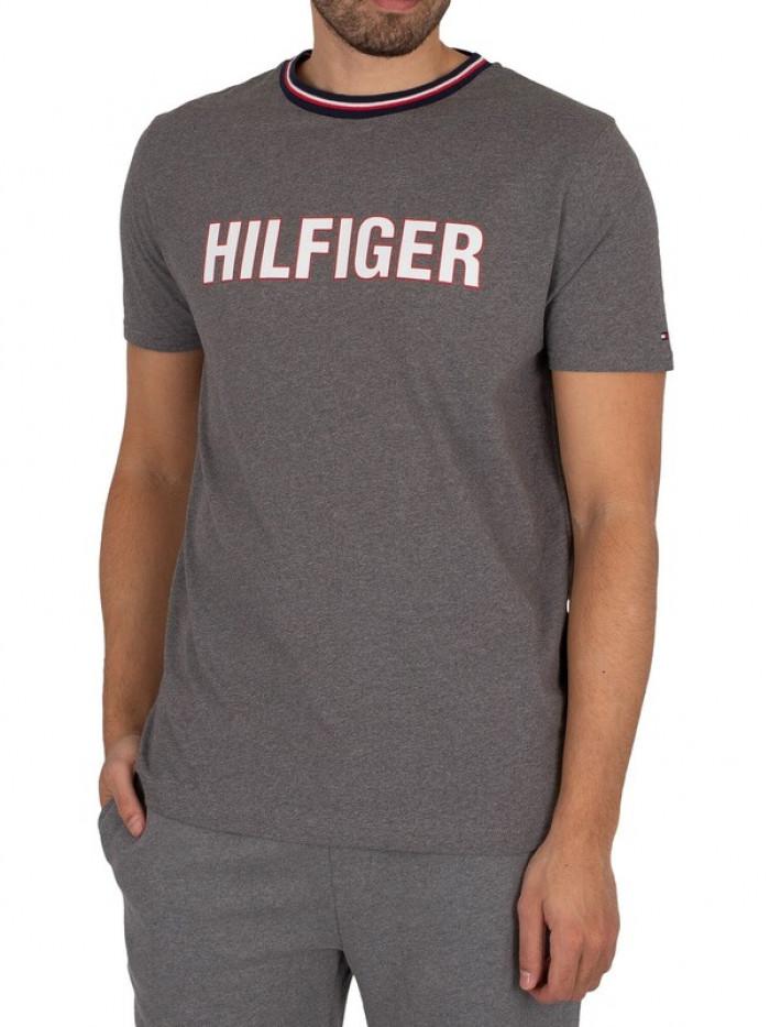Pánske tričko Tommy Hilfiger CN SS Tee Graphic Lounge sivé