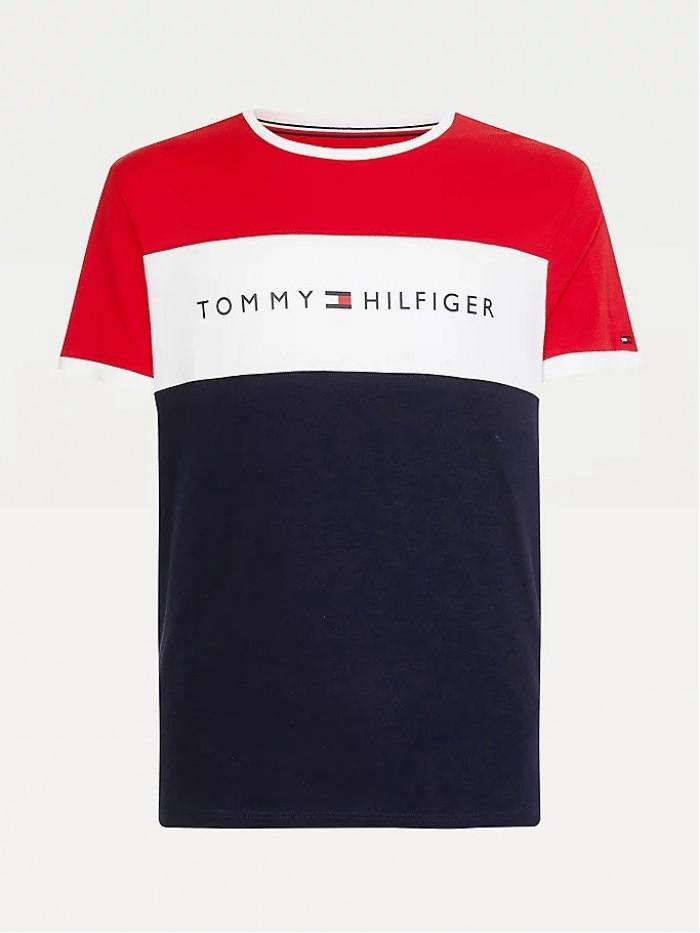 Pánske tričko Tommy Hilfiger CN SS Tee Logo Flag červené