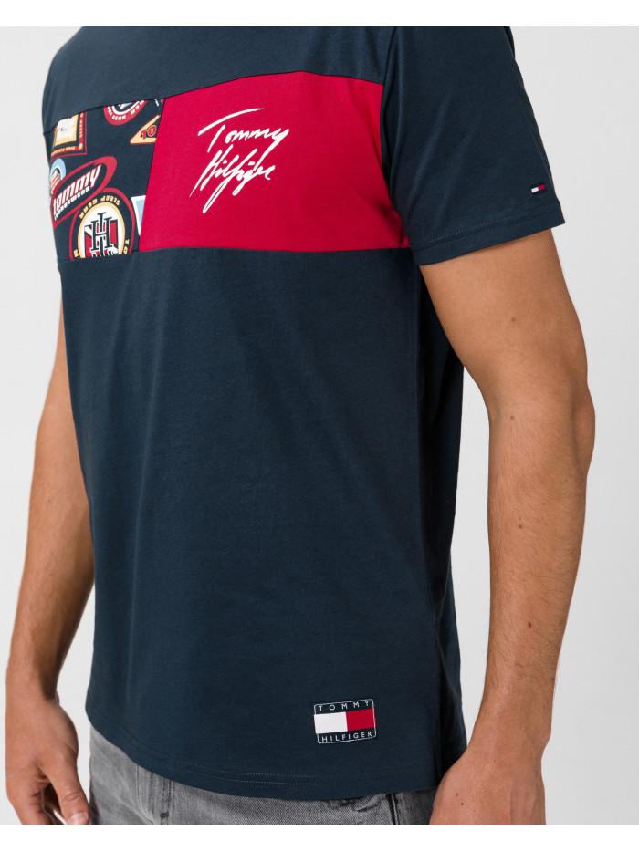 Pánske tričko Tommy Hilfiger CN SS Tee Print modré