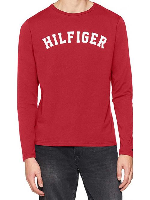 Pánske tričko Tommy Hilfiger LS TEE LOGO červené