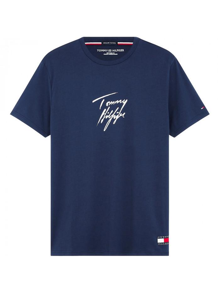 Pánske tričko Tommy Hilfiger Signature Logo modré
