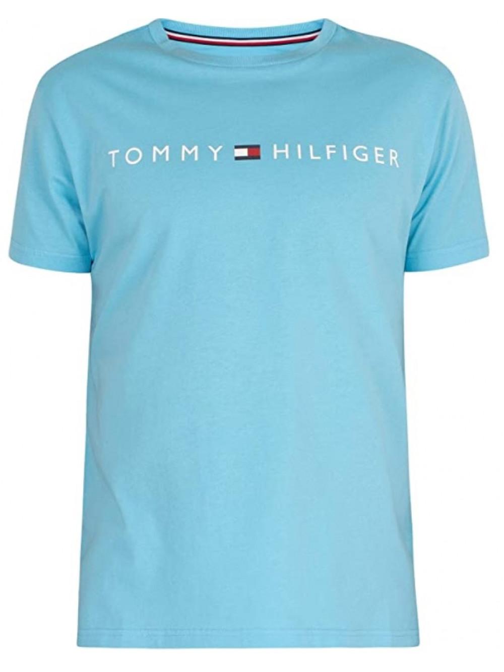 Pánske tričko Tommy Hilfiger Crew Neck Tee Logo tyrkysové