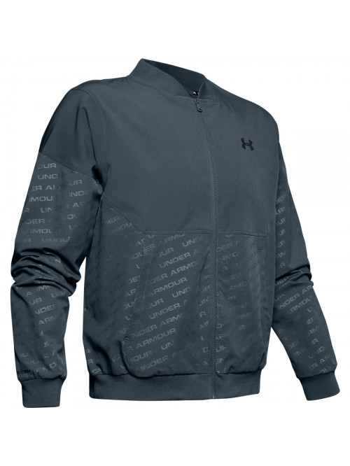 Pánska bunda Under Armour Unstoppable Emboss Bomber Wire sivá
