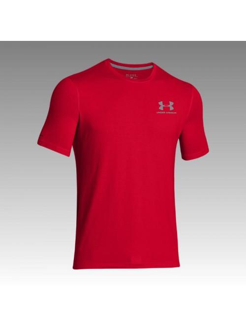 Pánske voľné tričko Under Armour Left Chest Logo Tee červené