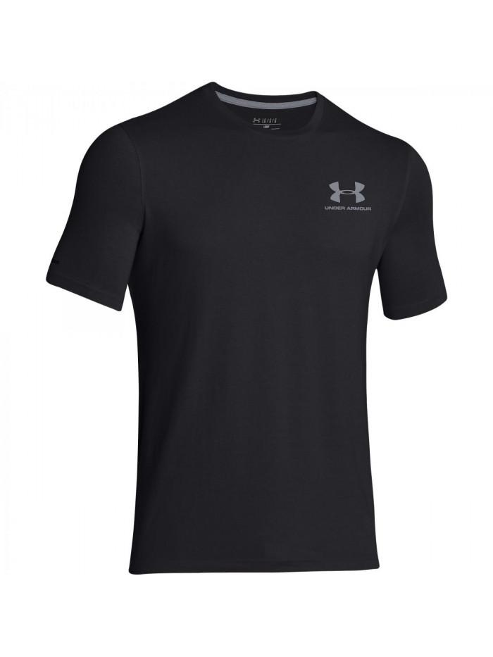 Pánske voľné tričko Under Armour Left Chest Logo Tee tmavosivé až čierne