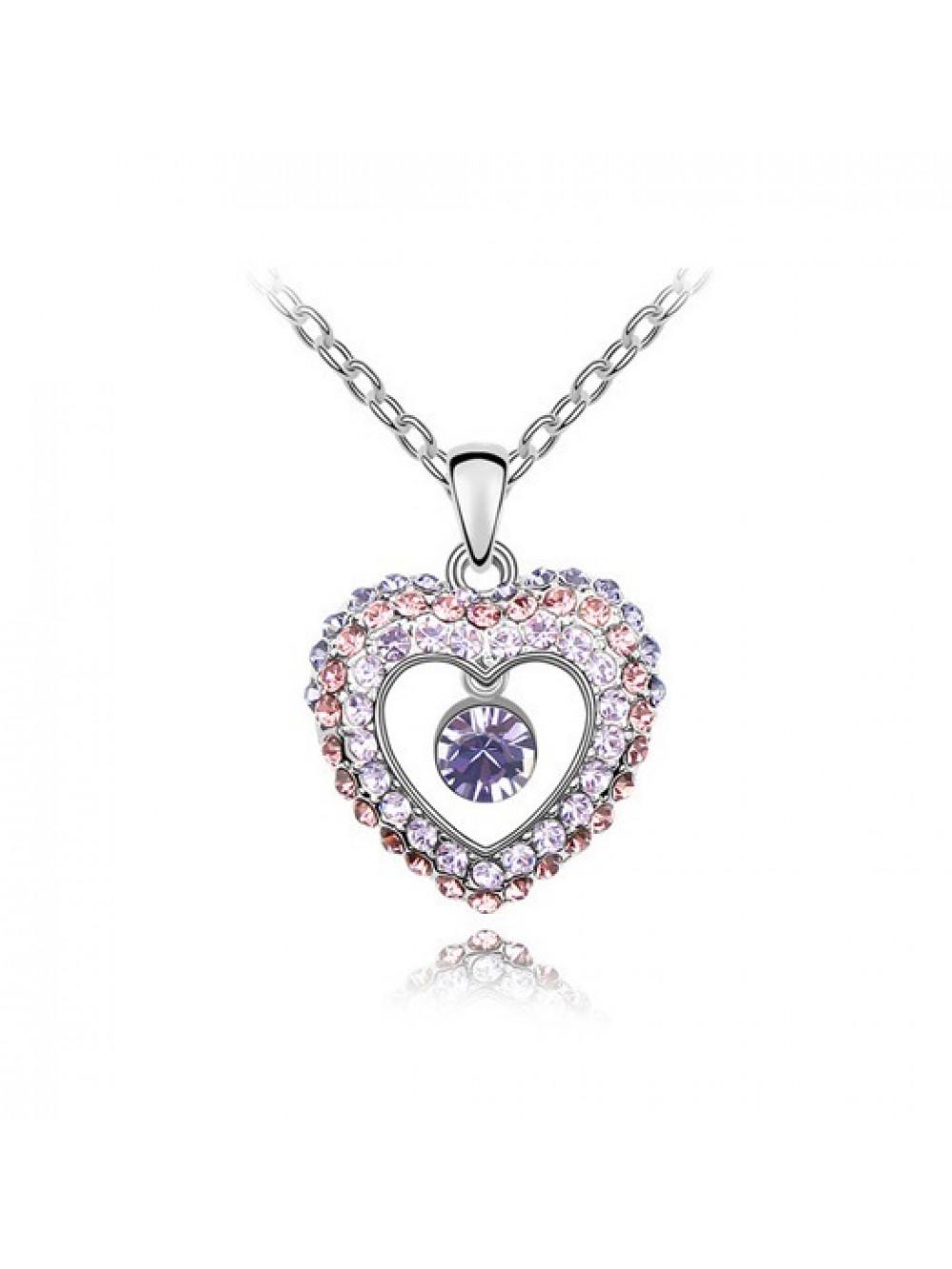 Náhrdelník Bijúce srdce fialové