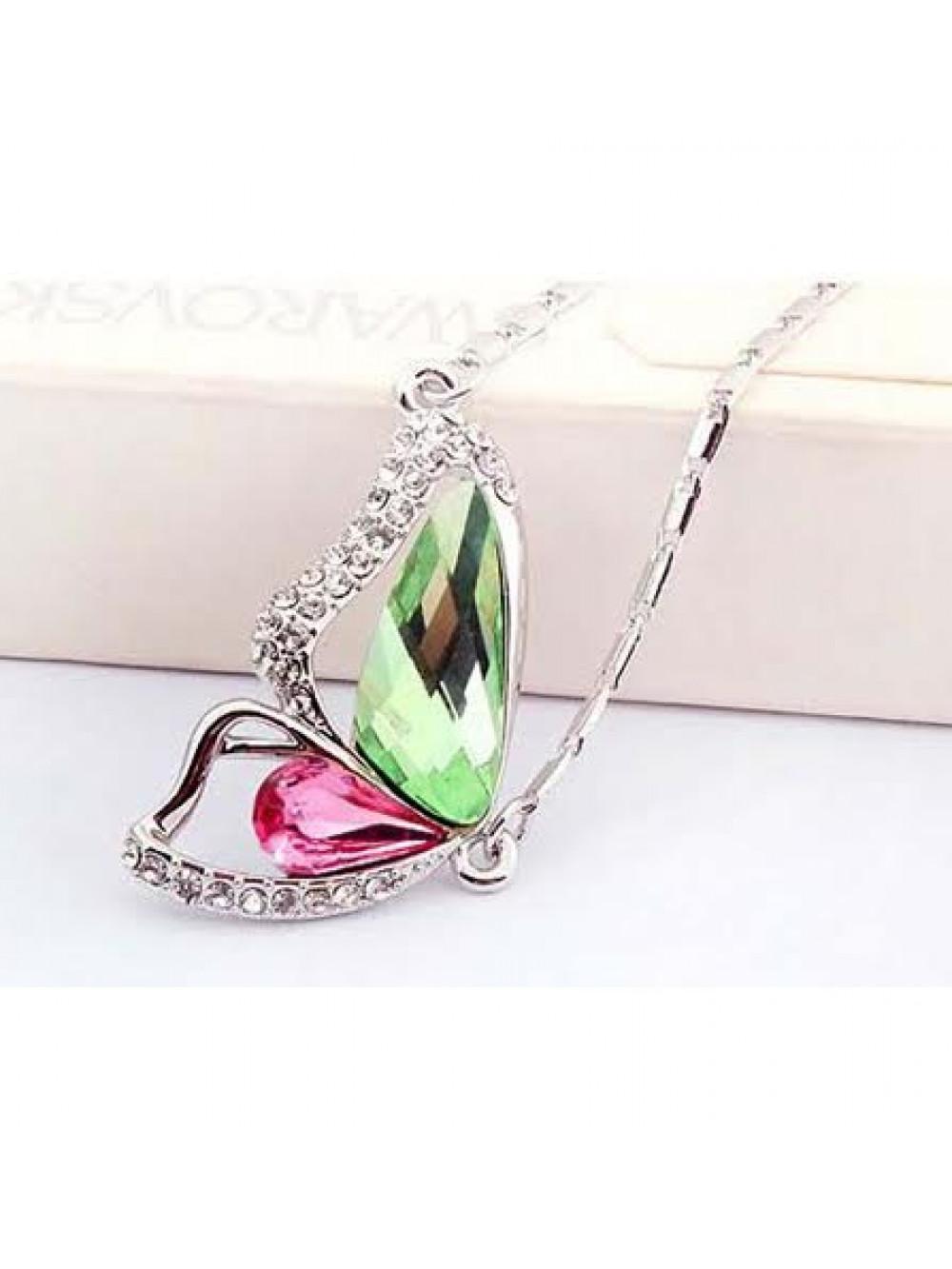 Náhrdelník Krídlo motýľa ružovo zelený