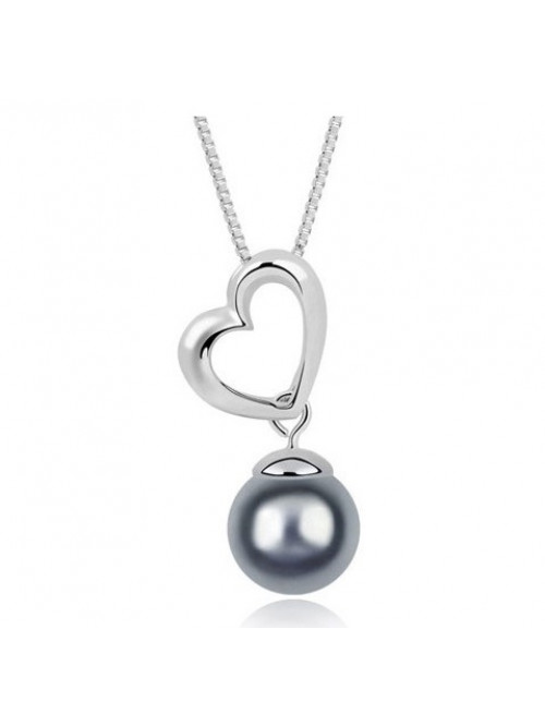 Náhrdelník Srdce s Perlou strieborno-šedé