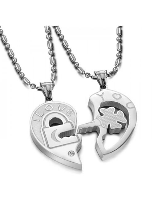 Náhrdelník pre dvoch - Srdce s kľúčom pre šťastie