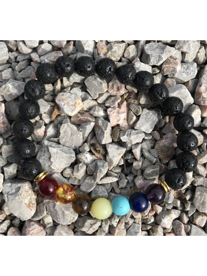 Čakrový náramok - sopečný kameň