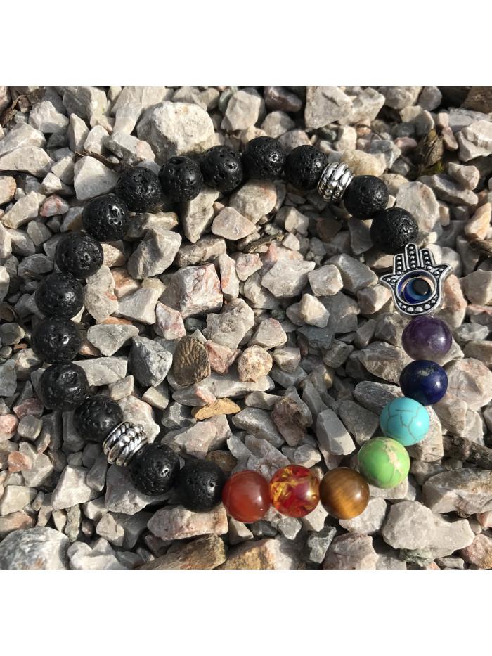 Čakrový náramok Kabbalah Hamsa - sopečný kameň