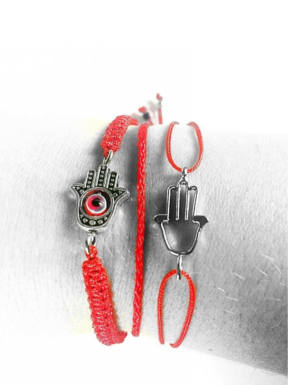 Červený náramok Kabbalah Hamsa s ochrannou rukou proti urieknutiu 407572b7bc7