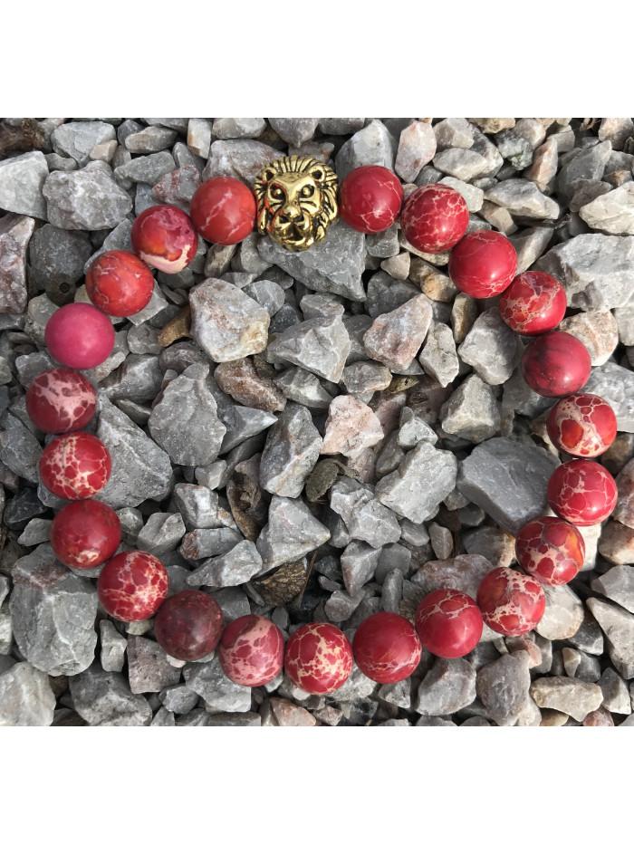 Náramok s levom - červený jaspis