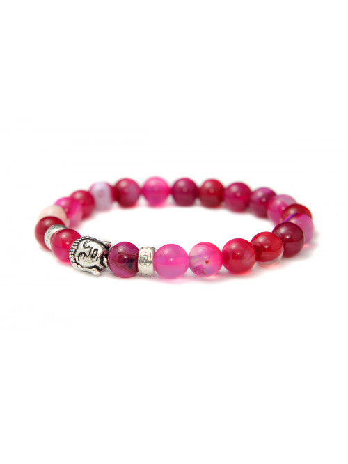 Náramok Buddha Ružový achát - strieborný