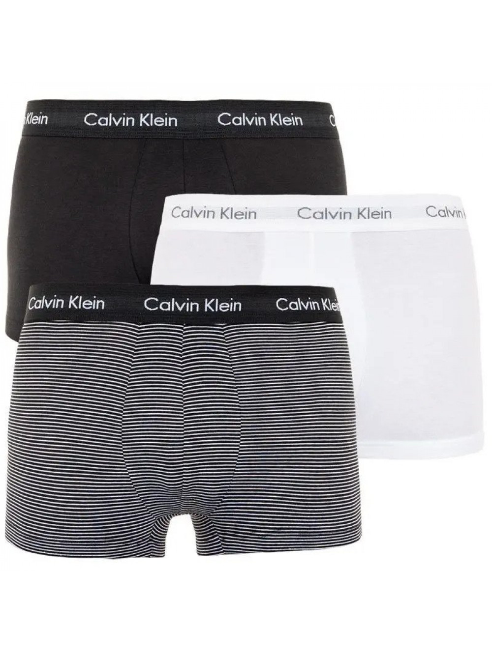 Pánske boxerky Calvin Klein Low Rise čierne, biele, pruhované 3-pack
