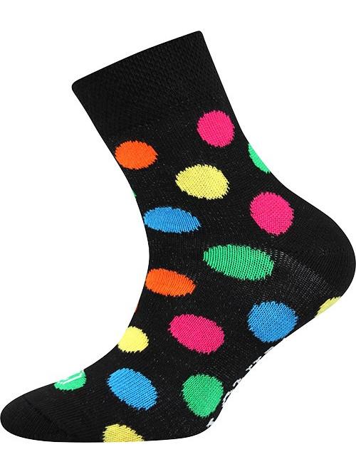 Detské ponožky Lonka Color Dots Black