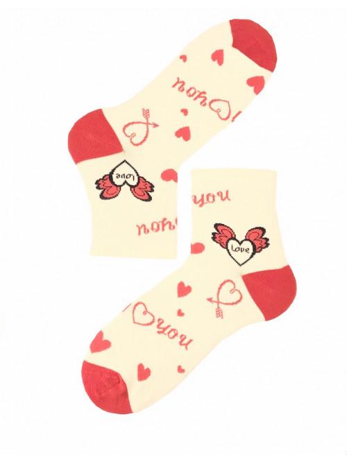Dámske ponožky Steven I Love You smotanové