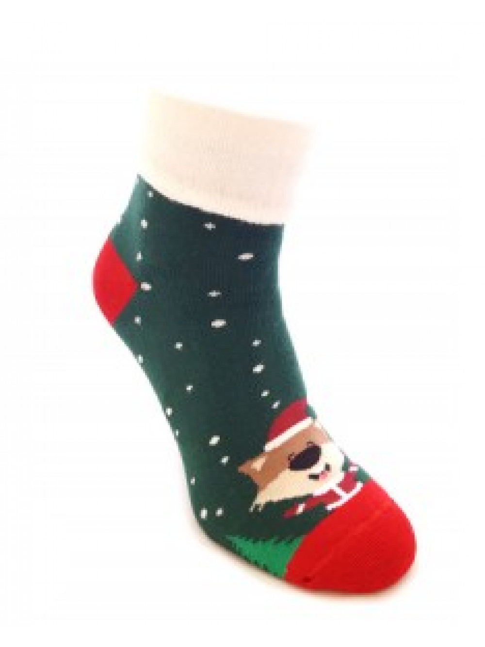 Ponožky Foxysoxy vianočná Líška zelené