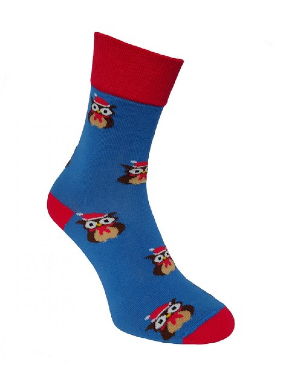 Ponožky Foxysoxy Vianočná Sova Modré