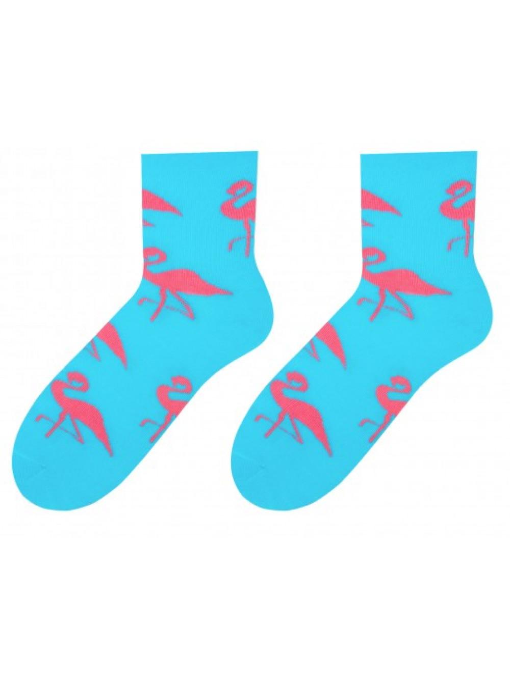 Dámske ponožky Plameniak More - Tyrkys