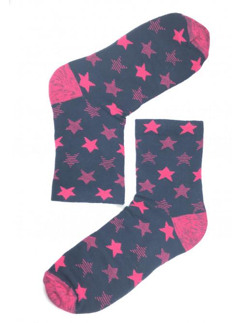 Ponožky Steven Stars čierno-ružové