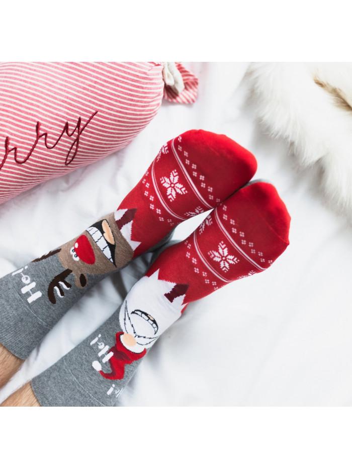 Vianočné ponožky More Sob a Mikuláš sivé