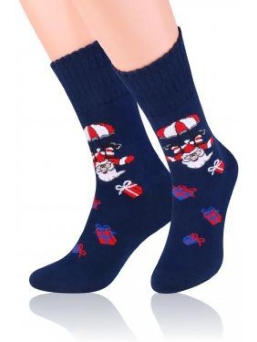 Vianočné ponožky Steven Crazy Santa Dark Blue