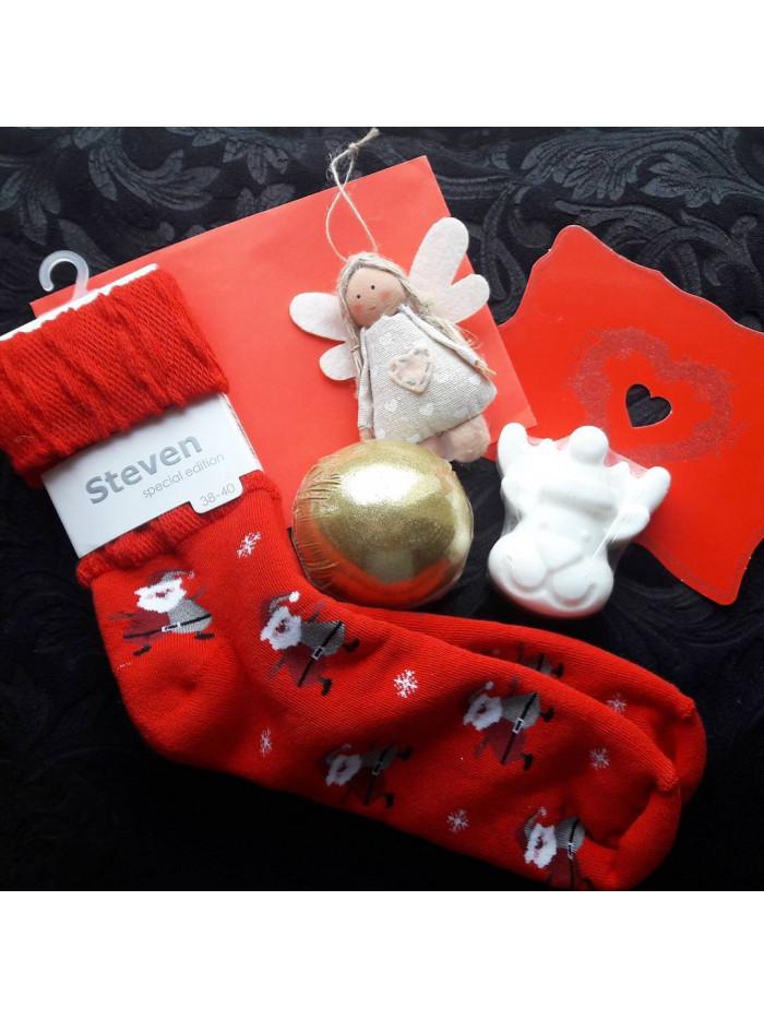 Vianočné ponožky Steven Mikuláš Červené