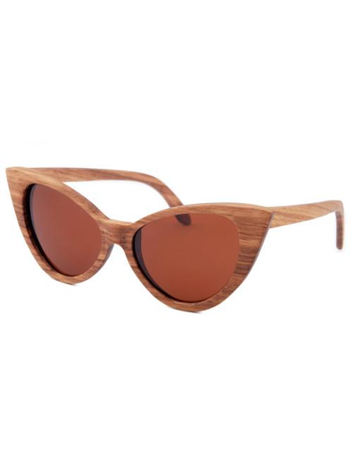 Drevené slnečné okuliare Brown Cat Eyes