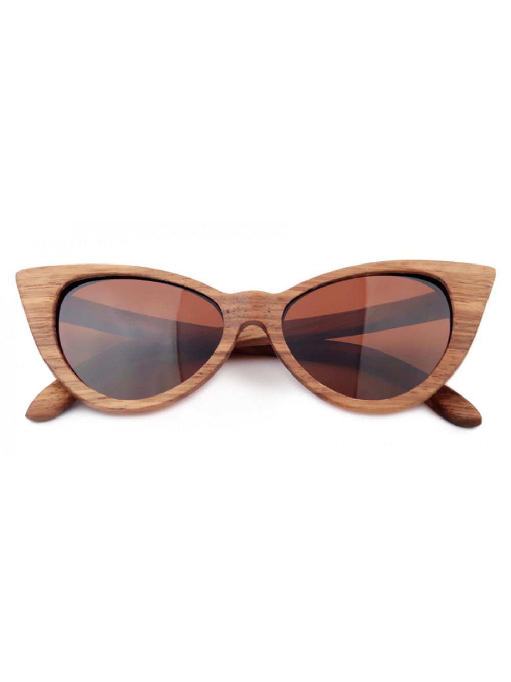 Drevené slnečné okuliare Brown Cat Eyes 01f6fbf487e